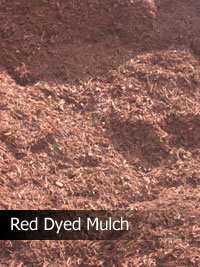 red dyed recycled mulch