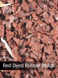 red dyed rubber mulch